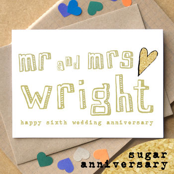 Personalised Sixth 'Sugar Anniversary' Card