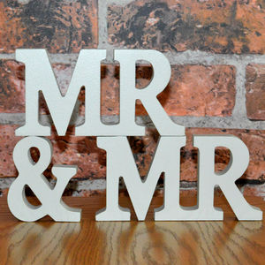 Mr And Mr Wooden Letters Grey