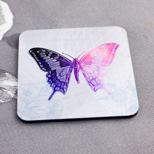 Vintage Decoupage Butterfly Coasters Set Of Four