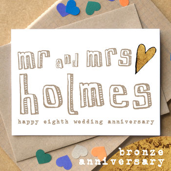 Personalised Eighth 'Bronze Anniversary' Card