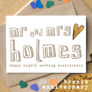 Personalised Eighth 'Bronze Anniversary' Card - anniversary cards