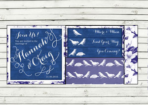 Blue Birds Pocket Fold Wedding Invitation - wedding stationery