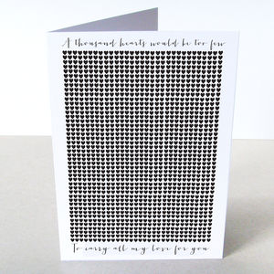 'A Thousand Hearts' Card - wedding, engagement & anniversary cards