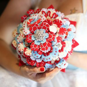 Snowflake Button And Felt Bouquet - flowers, bouquets & button holes