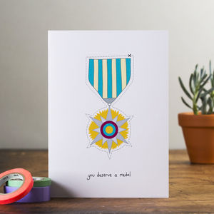 'You Deserve A Medal' Card - special work anniversary gifts