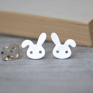 Bunny Earring Studs With Floppy Ears In Sterling Silver