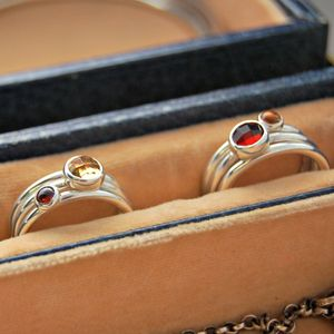 Secrets Garnet And Citrine Silver Stacking Rings