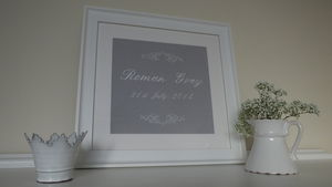 Personalised Scroll Birth Embroidery