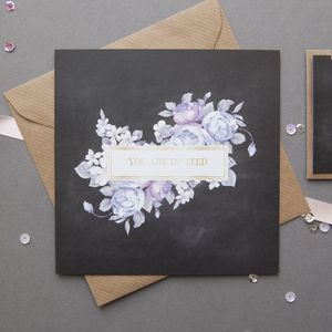 Chalkboard And Floral Wedding Invitation