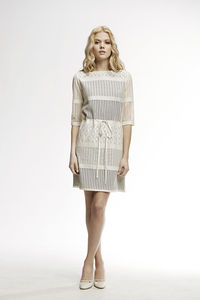 Capri Panel Lace Overlay Dress With Sheer Sleeves