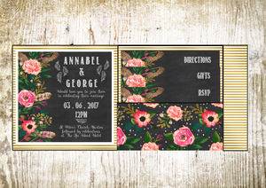 Chalkboard Inspired Pocket Fold Wedding Invitation - wedding stationery