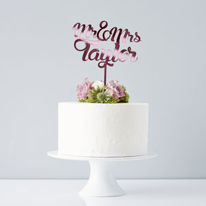 Personalised Mr And Mrs Wedding Cake Topper - cake toppers & decorations