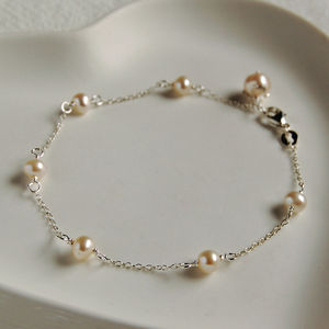Delicate Sterling Silver And Pearl Bracelet - wedding fashion