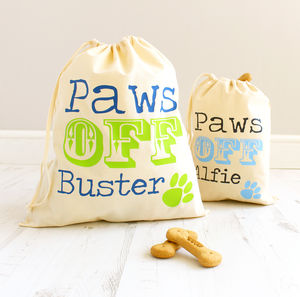 Personalised 'Paws Off' Pet Treat Bag - top for dogs