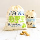 Royal blue and lime green / Navy and light blue print paws off pet bags