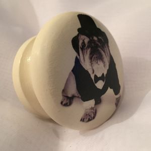 French Bulldog Door Drawer Cupboard Knob