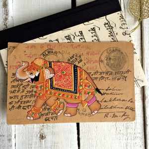 'Golden Elephant' Hand Painted Vintage Postcard - mixed media & collage