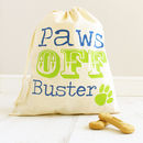 royal blue and lime green print paws off pet bag
