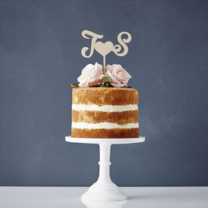 Personalised Monogram Wooden Wedding Cake Topper - cake toppers & decorations