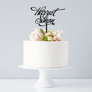 Elegant Personalised Couples Wedding Cake Topper - cake toppers & decorations