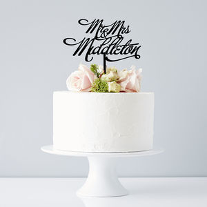 Personalised Mr And Mrs Elegant Wedding Cake Topper - table decorations