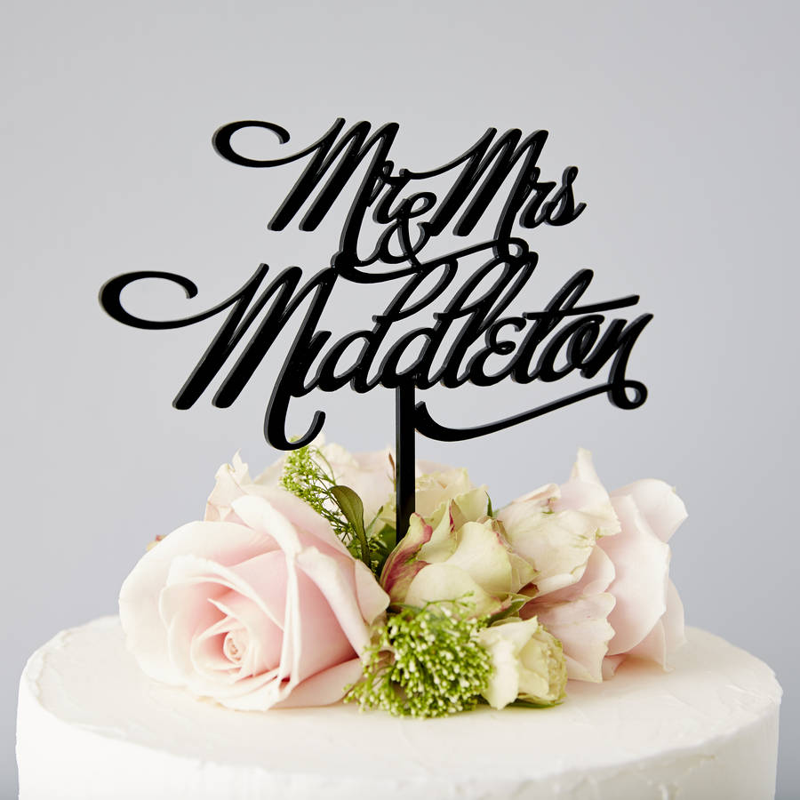 Personalised Mr And Mrs Elegant Wedding Cake Topper By
