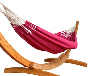 Fuschia Pink Knitted Single Hammock - garden furniture
