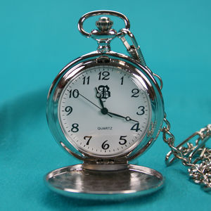 Engraved Pocket Watch Silver Plated - men's jewellery