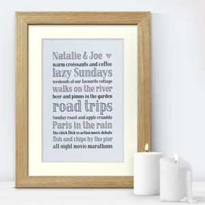 Couple's Favourite Things Personalised Print - prints & art
