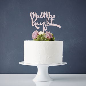 Personalised Calligraphy Wedding Cake Topper - cake decoration