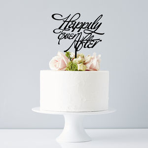 Elegant 'Happily Ever After' Wedding Cake Topper - cake decoration
