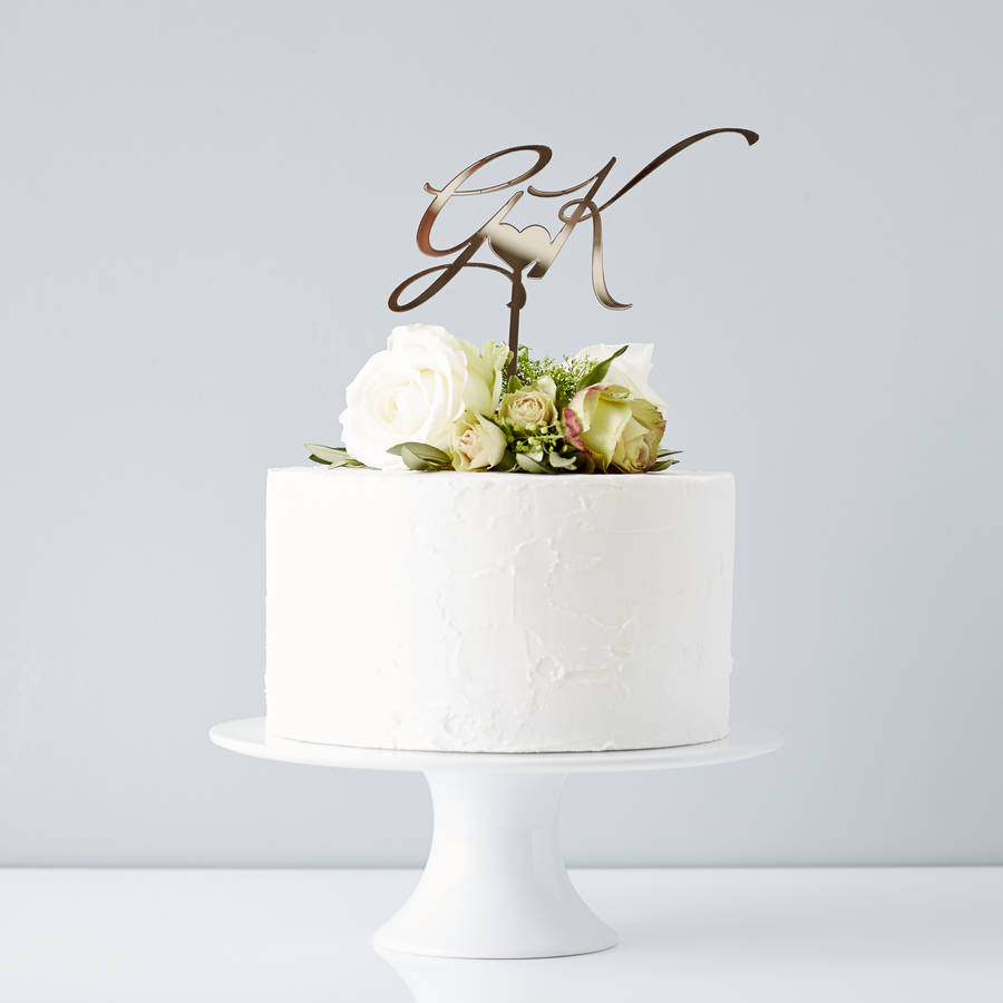 Y T Wedding Cake Topper
