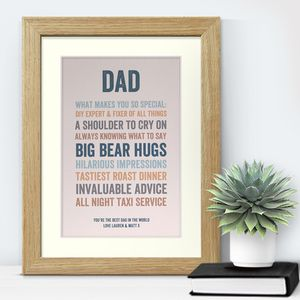 Endearing Father's Day Personalised Print