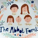 Personalised Floral Family Portrait Plate