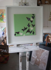 'Green Hens' Original Painting On Canvas