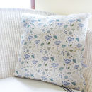 Large Natural Blue Parsley Linen Cushion