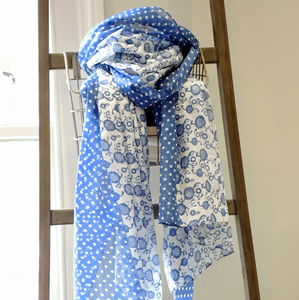 Blue And White Cotton Print Scarf