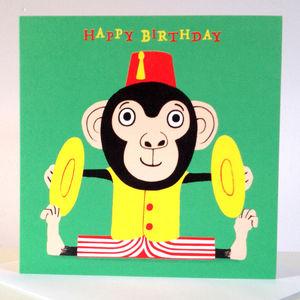 'Drummer Monkey' Birthday Card - birthday cards