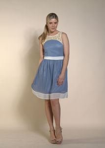 Blue Cream Beaded Yoke Dress - women's fashion