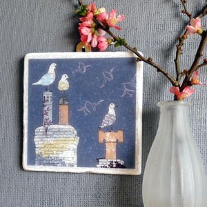 Seagull And Chimney Pots Large Marble Wall Art - contemporary art