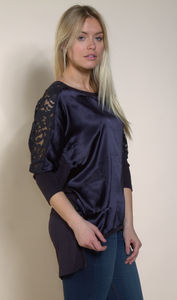 Satin Front, Lace Sleeve Tee With Jersey Back - tops & t-shirts