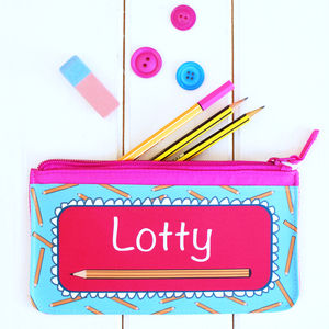Personalised Pink Pencil Case - stocking fillers under £15