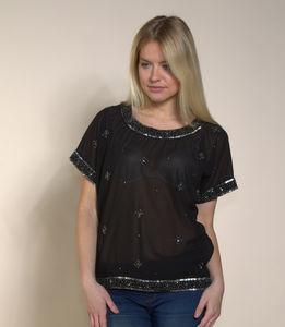 Beaded Round Neck Embellished T Shirt