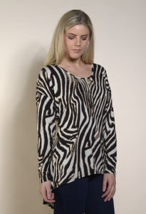Animal Print Oversize Long Sleeve T Shirt Plus Sz - women's fashion