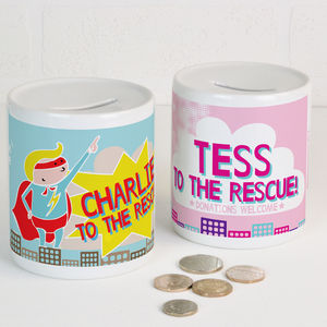 Personalised Money Box Super Hero - money boxes
