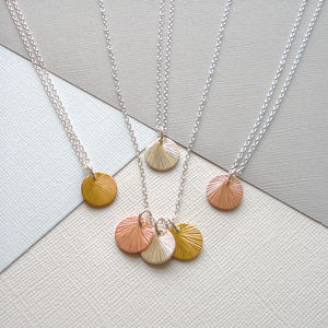 Mixed Metal Brushed Disc Necklace