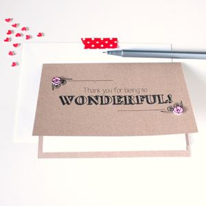 Personalised 'Thank You' For Being So Wonderful Card