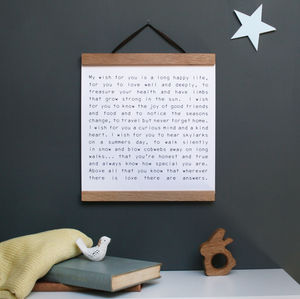 Personalised Christening Wish Wall Art - typography
