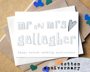 Personalised Second 'Cotton Anniversary' Card