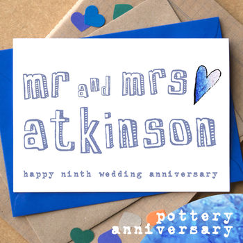 Personalised Ninth Pottery Anniversary Card